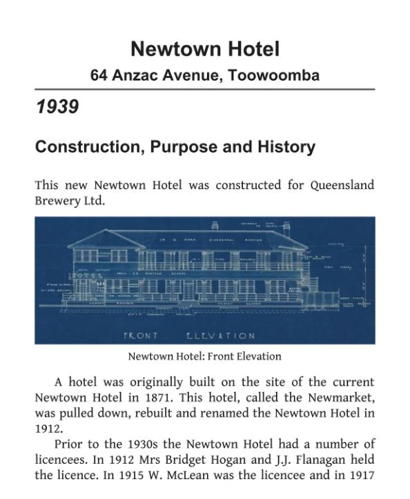 Newtown Hotel History 1939