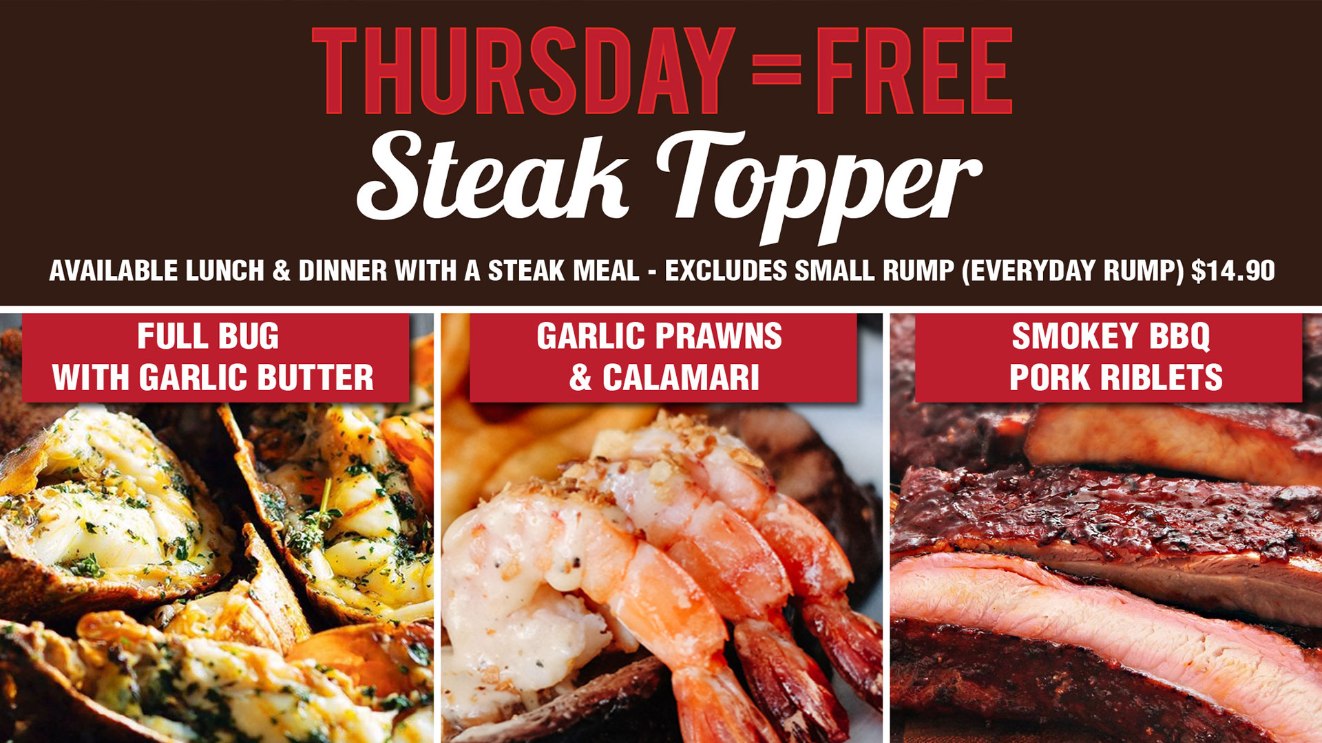 Free Steak Topper Every Thursday